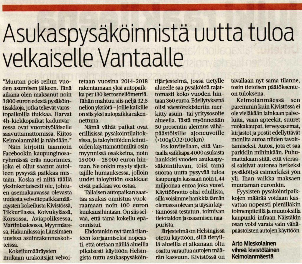 Mielipidekirjoitukseni Vantaan Sanomissa 3.6.2020  - Asukaspysäköinnistä uutta tuloa velkaiselle Vantaalle